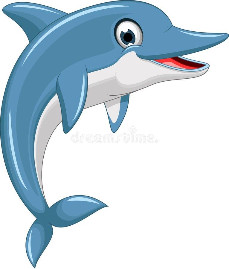 逗人喜爱海豚动画片跳跃 库存例证