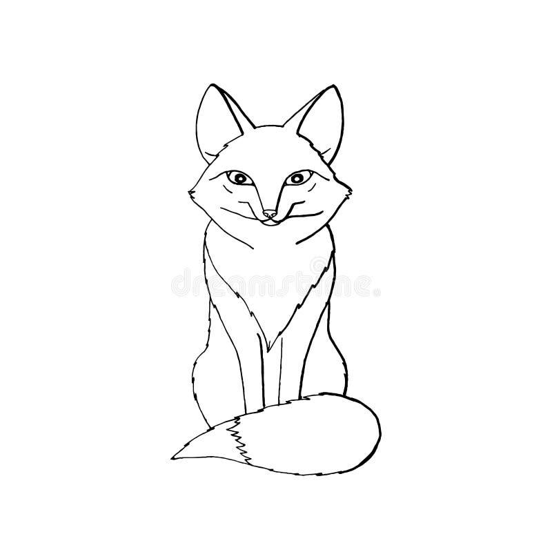 逗人喜爱滑稽动物狐狸坐 背景查出的白色 向量例证