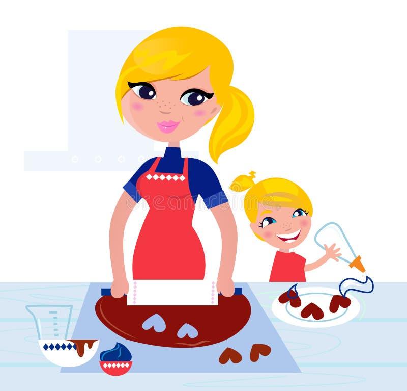 逗人喜爱烘烤的子项帮助她的母亲 向量例证