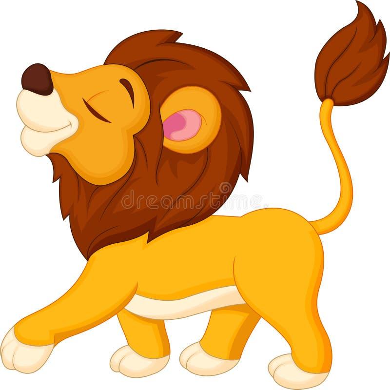 逗人喜爱狮子动画片走 向量例证