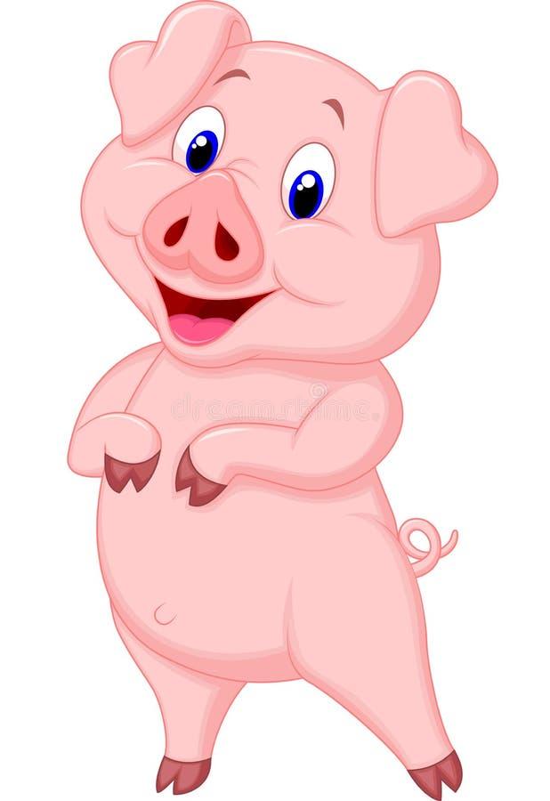 逗人喜爱猪动画片摆在 向量例证