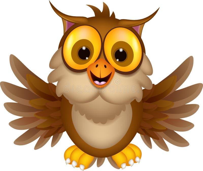 逗人喜爱猫头鹰动画片挥动 库存例证