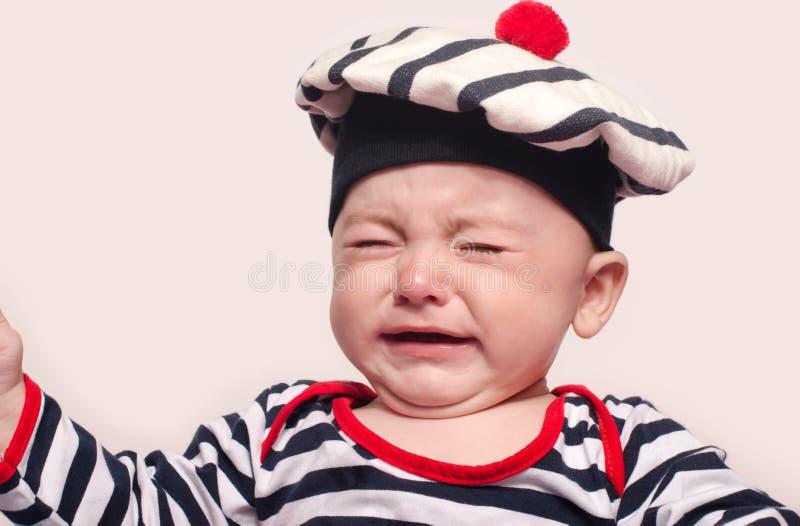 逗人喜爱男婴哭泣 库存图片
