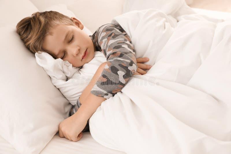 逗人喜爱疲乏男孩睡觉 免版税库存照片