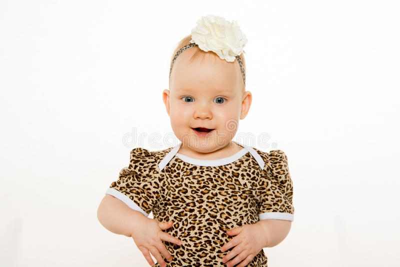 逗人喜爱的一岁的女婴 库存照片