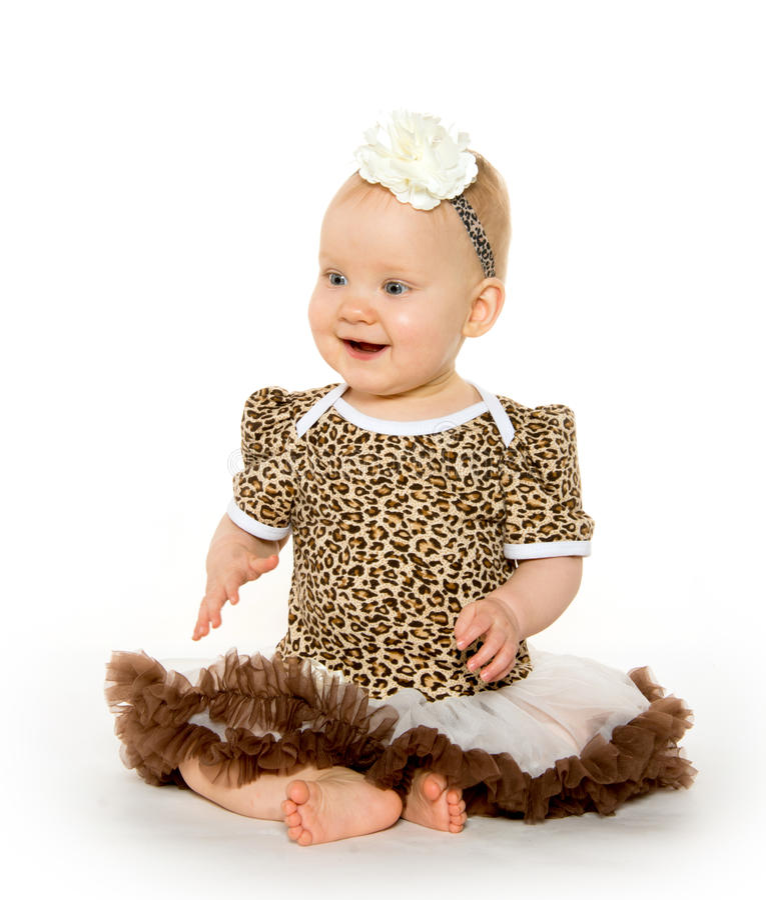 逗人喜爱的一岁的女婴 免版税库存图片