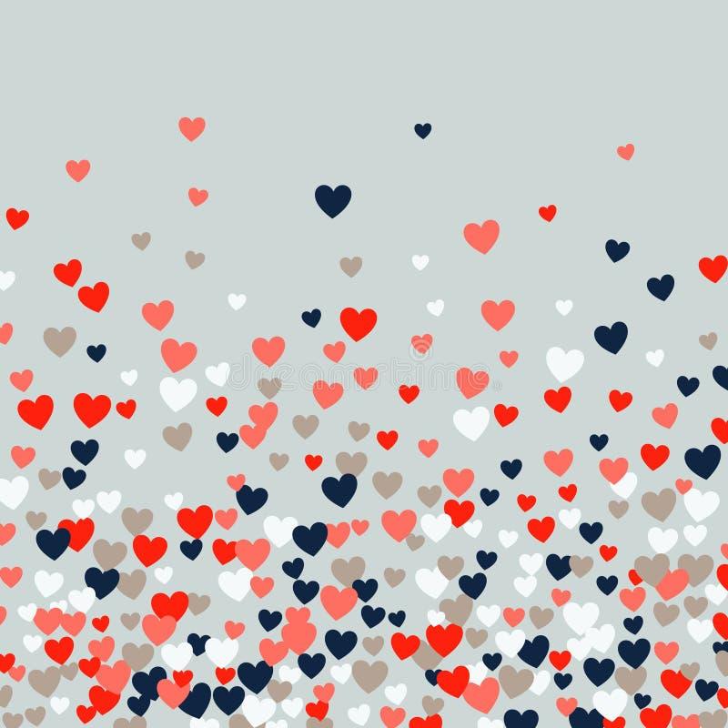 逗人喜爱的一点心脏背景、另外大小和颜色,任意顺序,明亮的大胆的颜色 向量例证