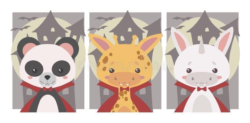 逗人喜爱的万圣节传染媒介艺术的汇集孩子的,熊猫、独角兽和长颈鹿,装饰作为有犬齿和红色斗篷的o吸血鬼 皇族释放例证