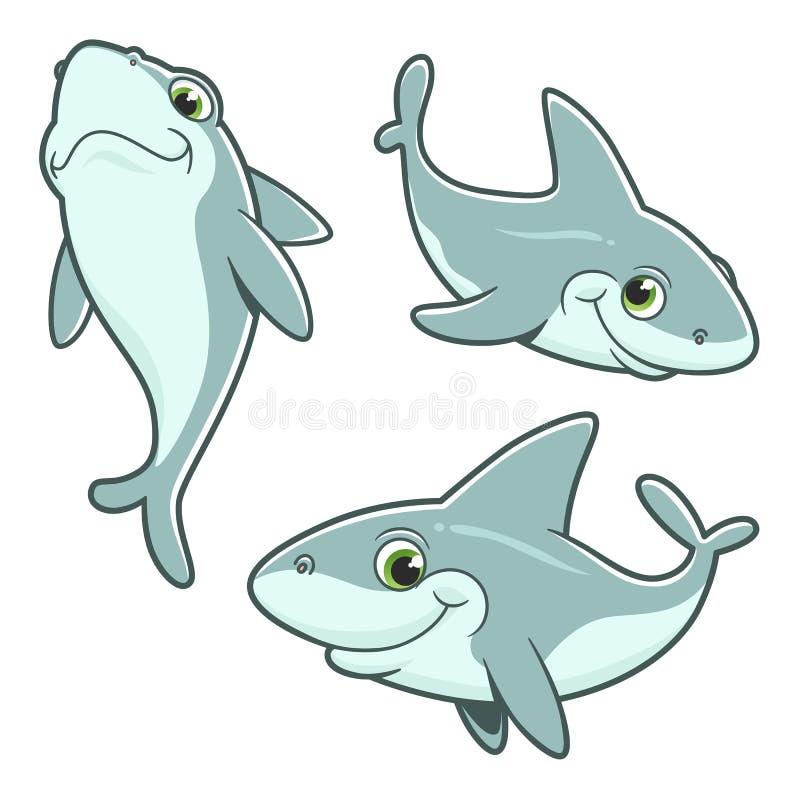 逗人喜爱的三个传染媒介鲨鱼 向量例证