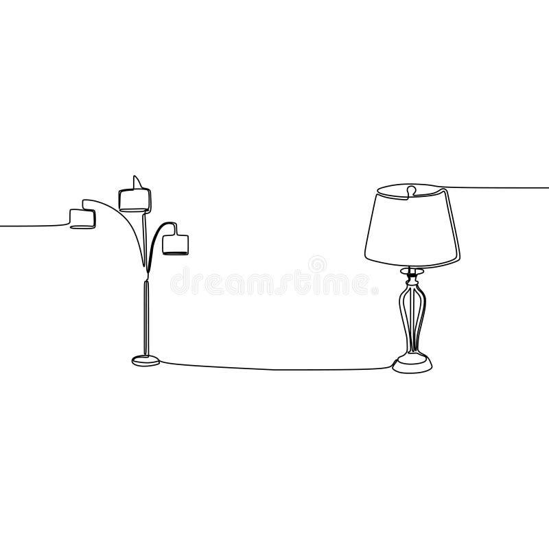 逗人喜爱的三倍灯和唯一灯实线灯集合、天花板、桌、书桌和落地灯传染媒介例证  库存例证