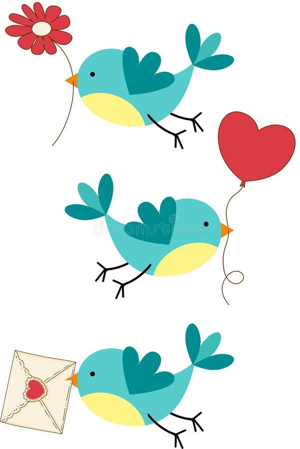 逗人喜爱的三只爱鸟 向量例证