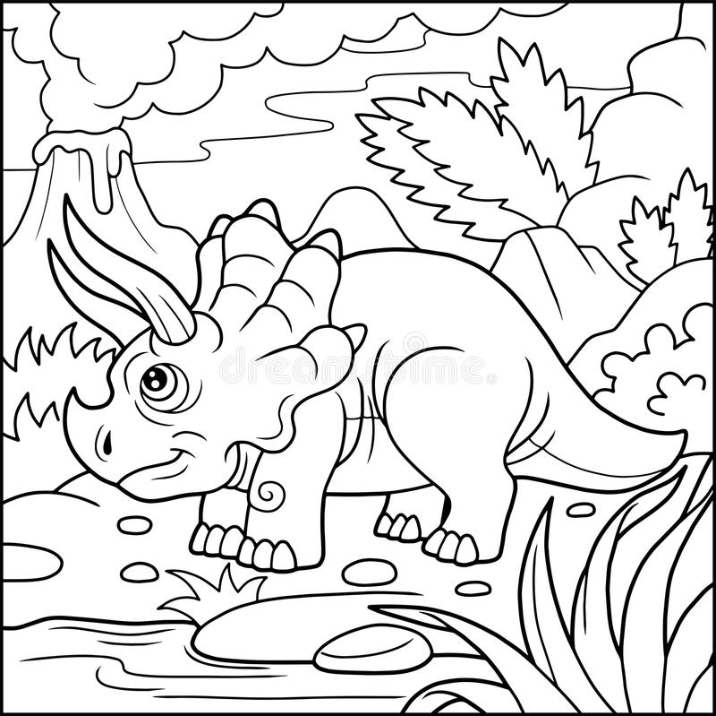 逗人喜爱的三角恐龙彩图 皇族释放例证