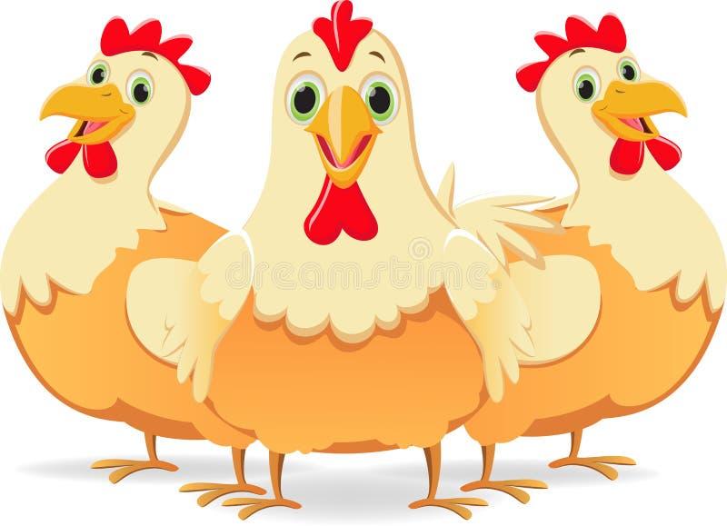 逗人喜爱的三部动画片母鸡 皇族释放例证