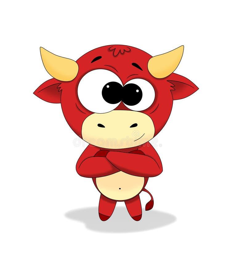 逗人喜爱的不可思议的公牛 向量例证