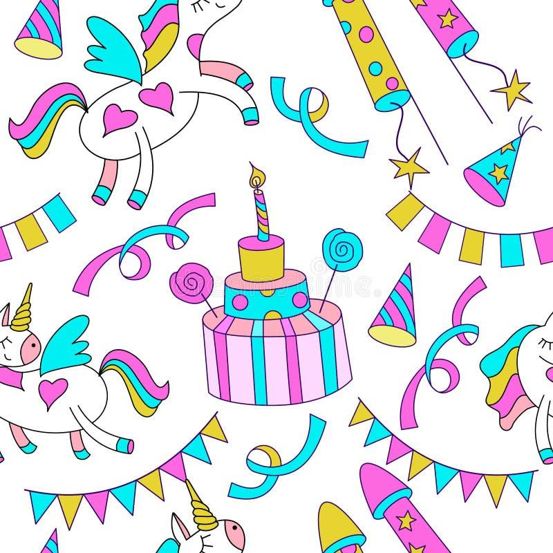逗人喜爱的不可思议的独角兽,与蜡烛,假日辅助部件的生日蛋糕 在空白背景 库存例证