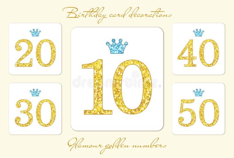 逗人喜爱的与冠的葡萄酒金黄闪烁数字 向量例证