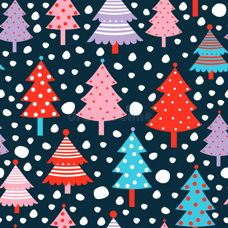 逗人喜爱的与圣诞树的冬天传染媒介无缝的样式 库存例证