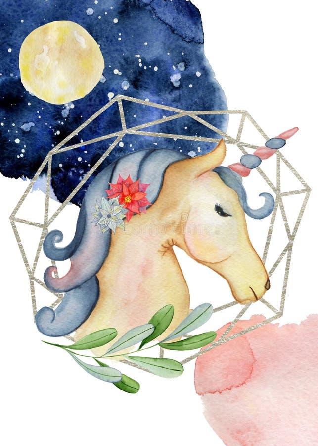 逗人喜爱的与夜空和月亮的独角兽水彩手拉的圣诞快乐例证 皇族释放例证