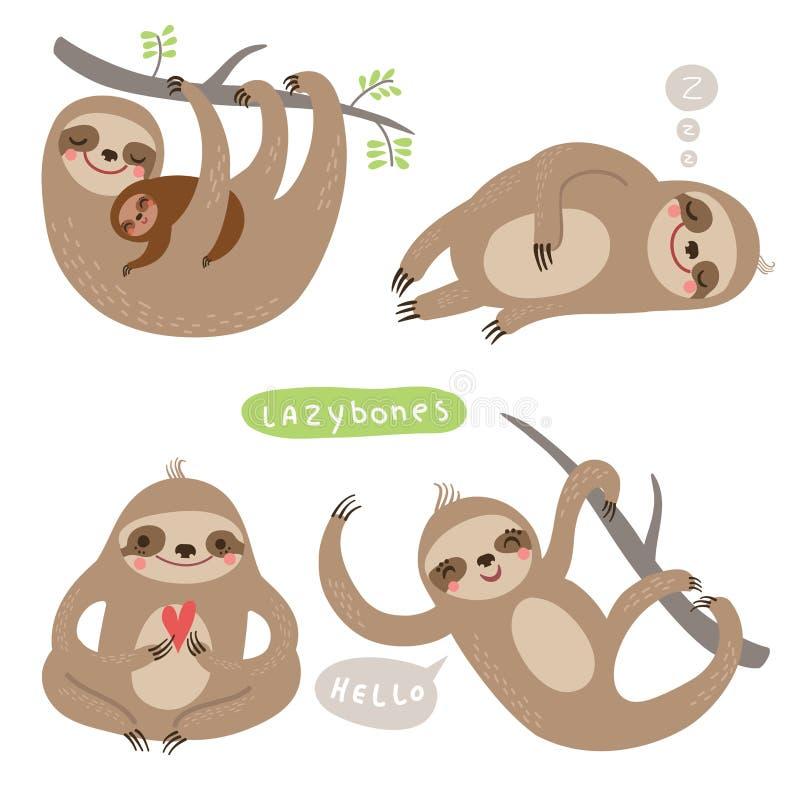逗人喜爱的与字符的动物集合例证 皇族释放例证