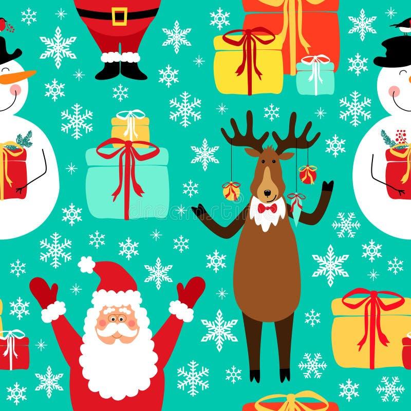 逗人喜爱的与手拉的圣诞节漫画人物的冬天幼稚无缝的样式作为圣诞老人、驯鹿和雪人 向量例证