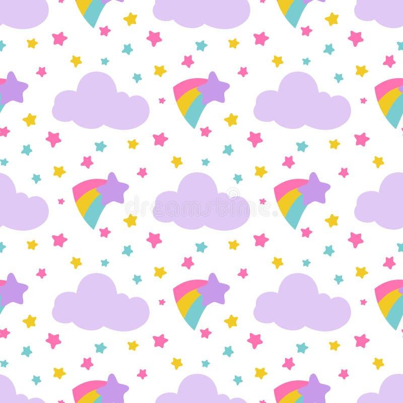 逗人喜爱的与星,云彩,彩虹的婴孩无缝的样式 皇族释放例证