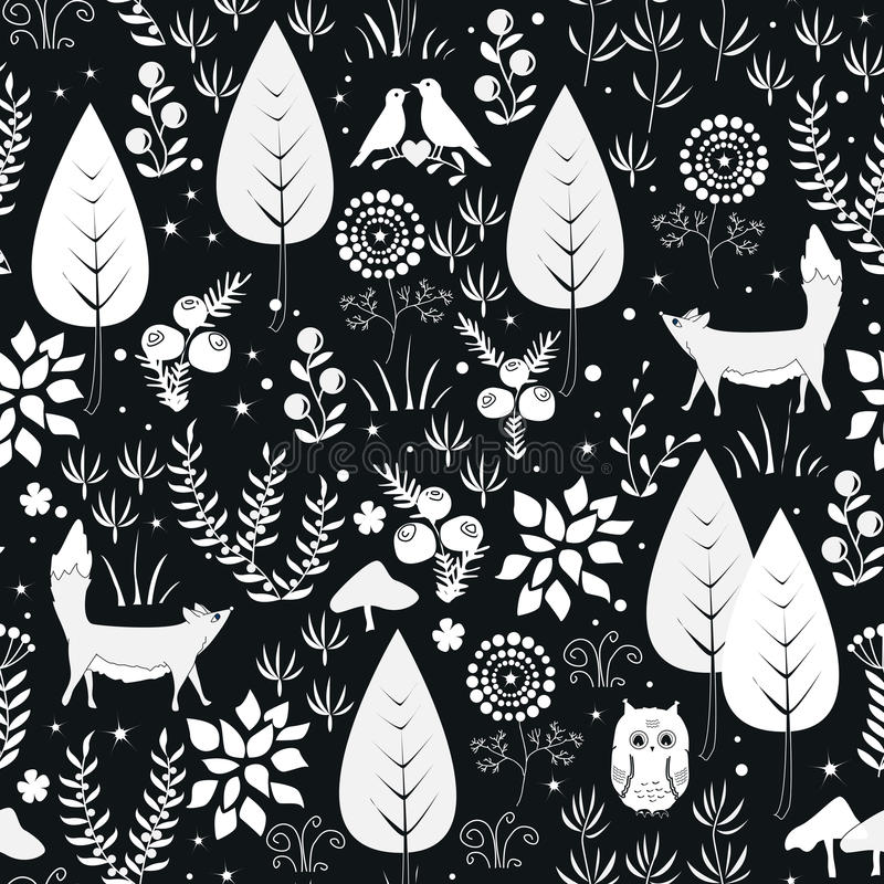 逗人喜爱的与森林植物、鸟和狐狸剪影的传染媒介无缝的样式 背景黑色白色 向量例证