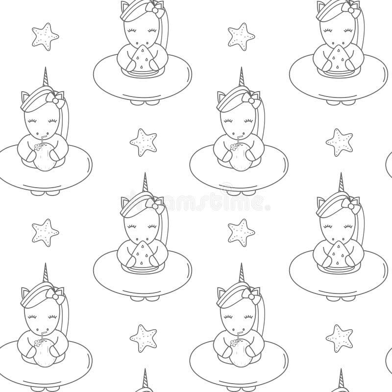 逗人喜爱的与浮游物夏天无缝的传染媒介的动画片黑白独角兽仿造背景例证 皇族释放例证