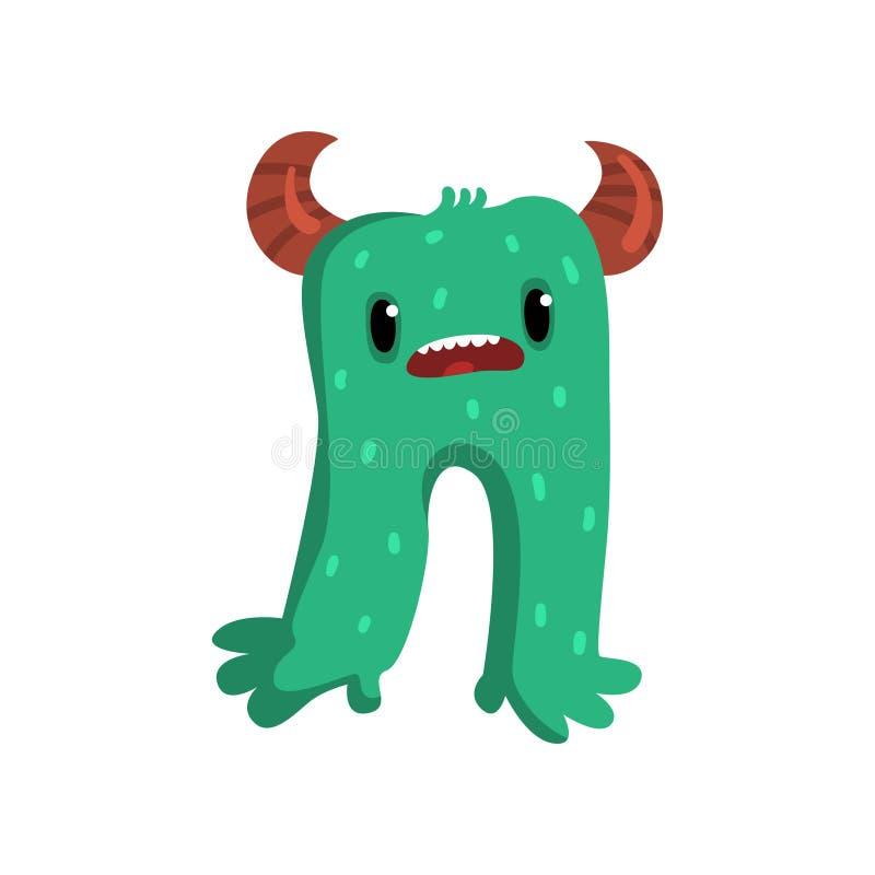 逗人喜爱的与滑稽的面孔传染媒介例证的动画片有角的绿色妖怪字符在白色背景 库存例证
