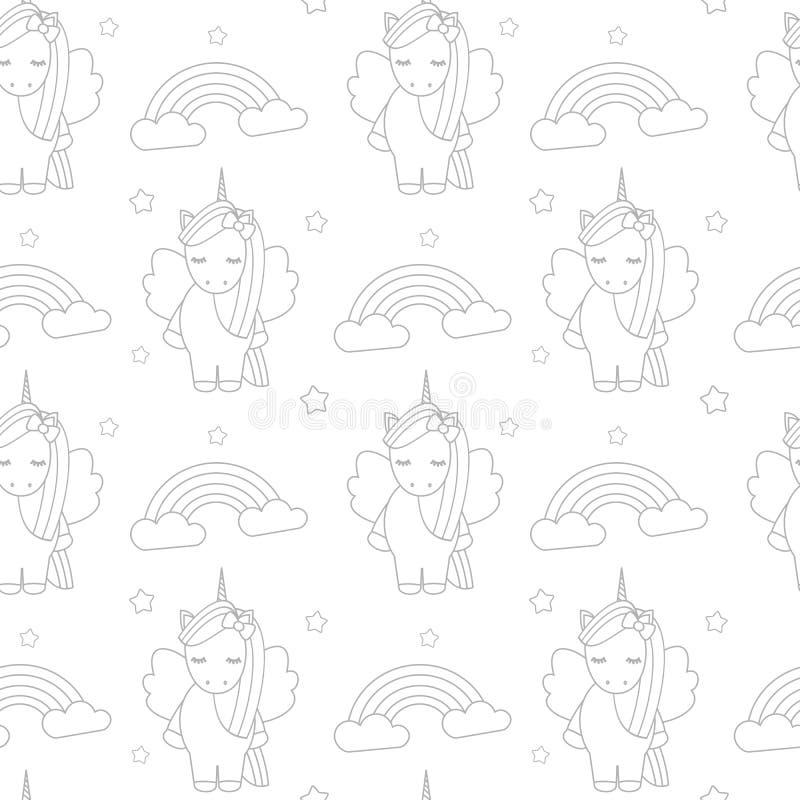 逗人喜爱的与独角兽和彩虹的动画片可爱的黑白无缝的传染媒介样式背景例证 库存例证