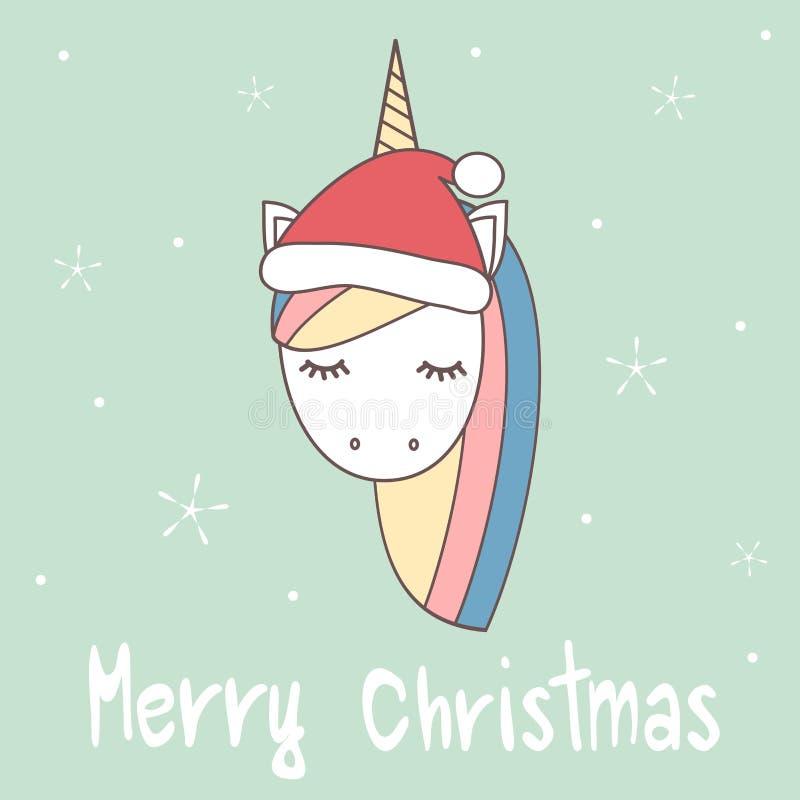 逗人喜爱的与独角兽的动画片手拉的圣诞快乐传染媒介贺卡与圣诞老人` s帽子 库存例证