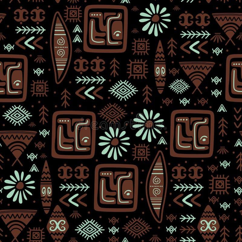 逗人喜爱的与玛雅人古老阿兹台克设计无缝的图画的样式部族种族手拉的标志 皇族释放例证