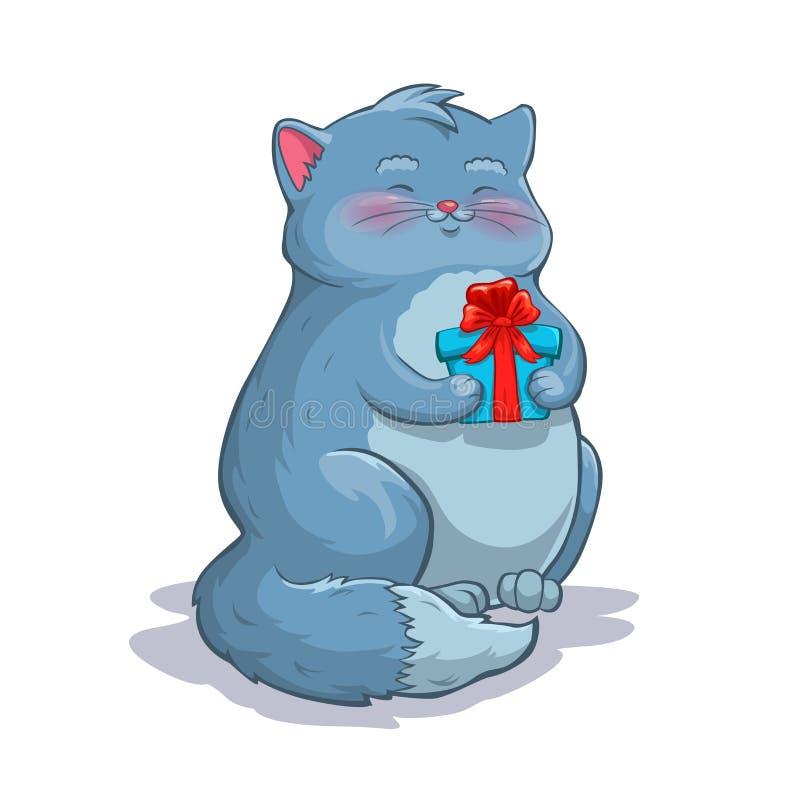 逗人喜爱的与礼物盒的动画片肥胖灰色猫 皇族释放例证