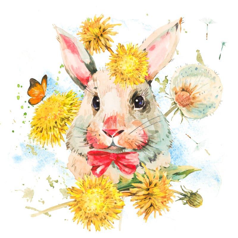 逗人喜爱的与红色弓的水彩白色兔子 皇族释放例证