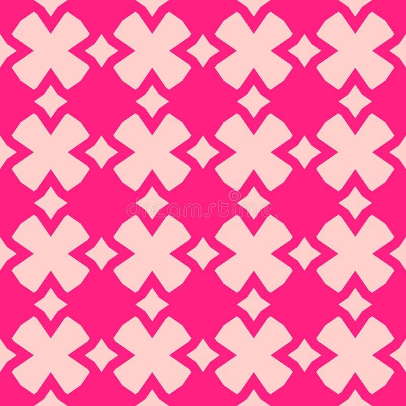 逗人喜爱的与花的桃红色传染媒介摘要几何无缝的样式 向量例证