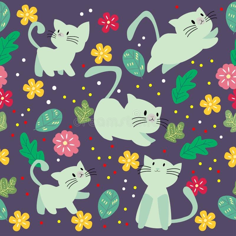 逗人喜爱的与花的猫无缝的样式在五颜六色的背景传染媒介例证 动画片样式 皇族释放例证