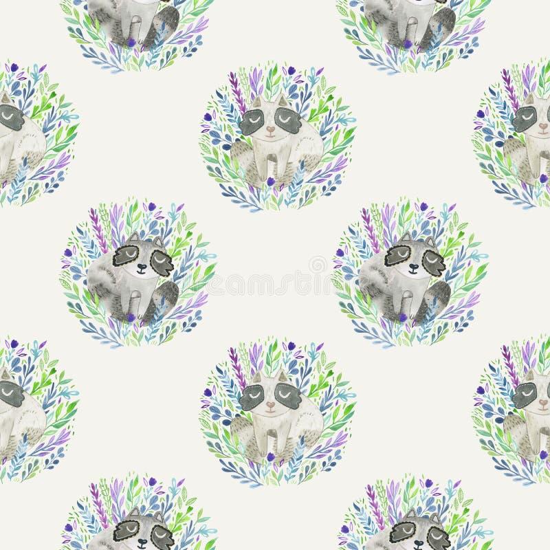 逗人喜爱的与逗人喜爱的动画片小浣熊的水彩手拉的样式 库存例证