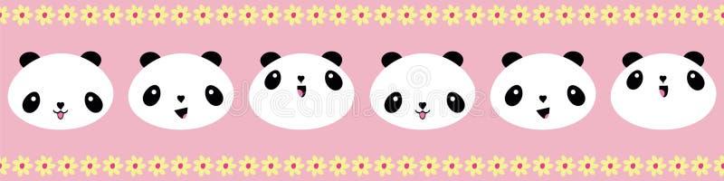 逗人喜爱的与黄色花边缘的Kawaii样式愉快的熊猫边界 在桃红色背景的无缝的几何传染媒介样式 皇族释放例证