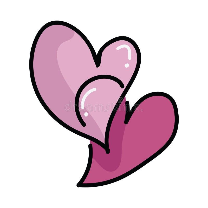 逗人喜爱的两华伦泰心脏动画片传染媒介例证主题集合 手拉的被隔绝的浪漫夫妇标志元素clipart为 向量例证