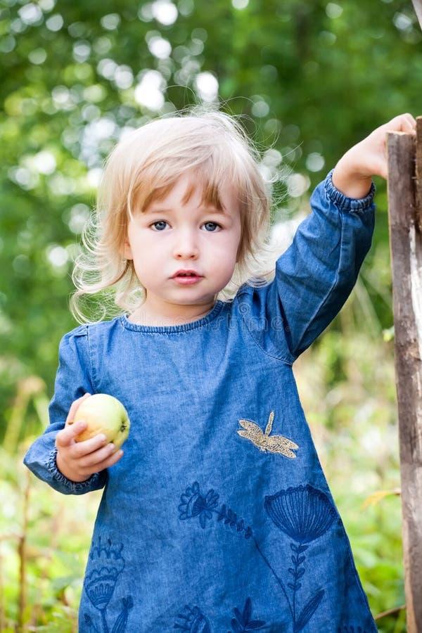 逗人喜爱的两岁蓝色礼服身分的白肤金发的白女孩在夏天室外背景 库存图片