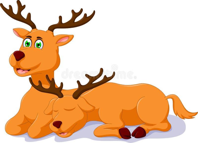 逗人喜爱的两头鹿动画片开会 库存例证