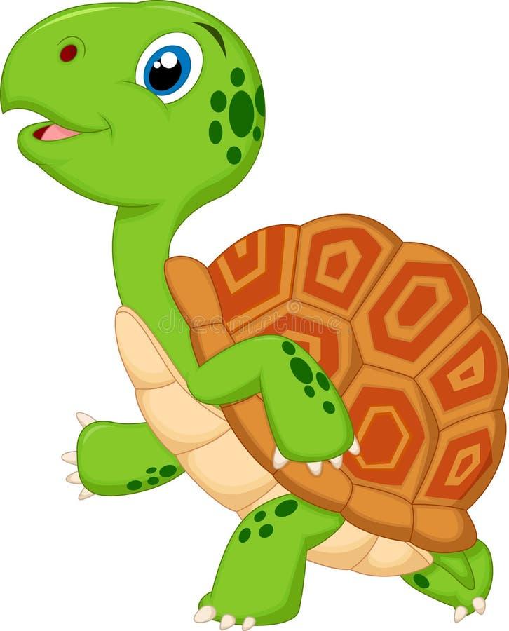 逗人喜爱的乌龟动画片赛跑 皇族释放例证