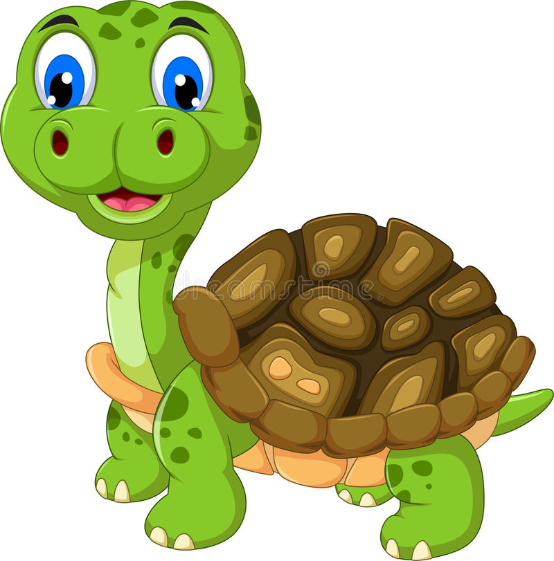 逗人喜爱的乌龟动画片 库存例证