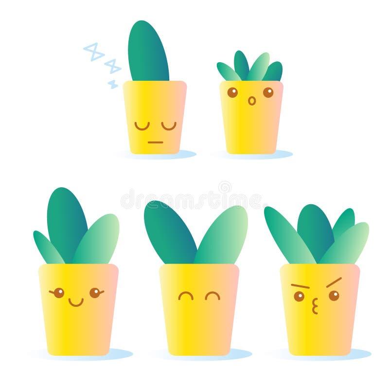逗人喜爱的乱画仙人掌 在盆的植物的动画片面孔 黄色罐 与granient的传染媒介例证 向量例证
