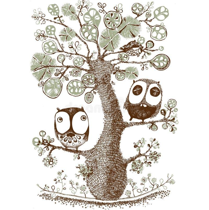 逗人喜爱的二重奏猫头鹰在树,野生生物,印刷品,传染媒介垂悬 向量例证