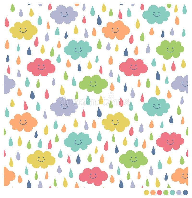 逗人喜爱的云彩和雨无缝的背景 库存例证