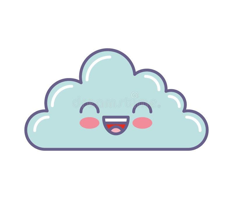 逗人喜爱的云彩kawaii面孔 皇族释放例证