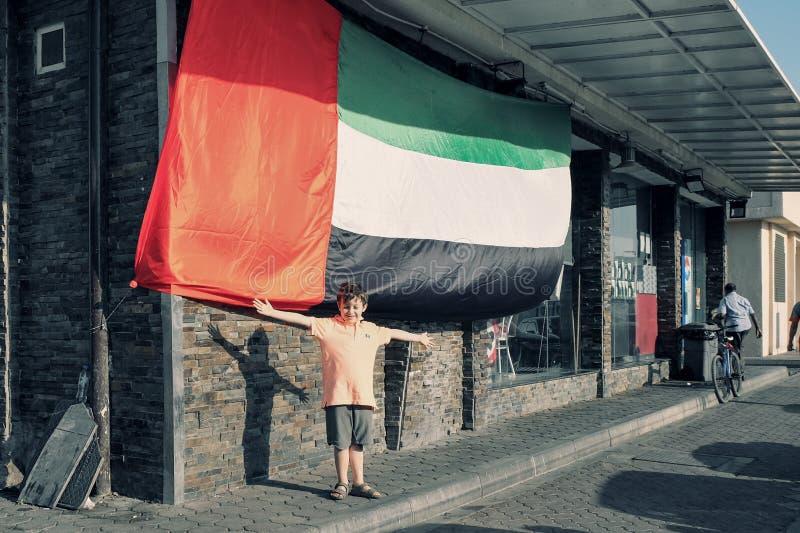逗人喜爱的五年阿拉伯联合酋长国的爱国者 库存照片