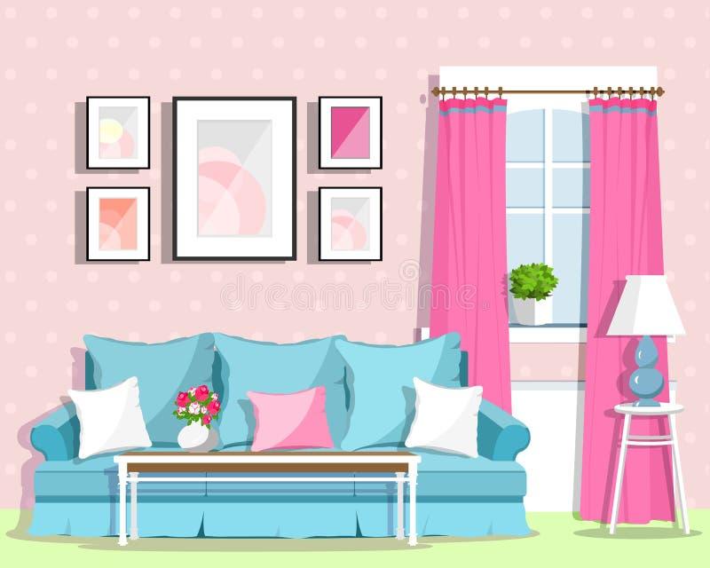逗人喜爱的五颜六色的与家具的客厅室内设计 减速火箭的空间样式 库存例证