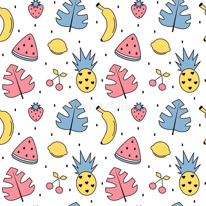 逗人喜爱的五颜六色的与异乎寻常的叶子,香蕉,菠萝,柠檬,西瓜的夏天无缝的传染媒介样式背景例证 向量例证