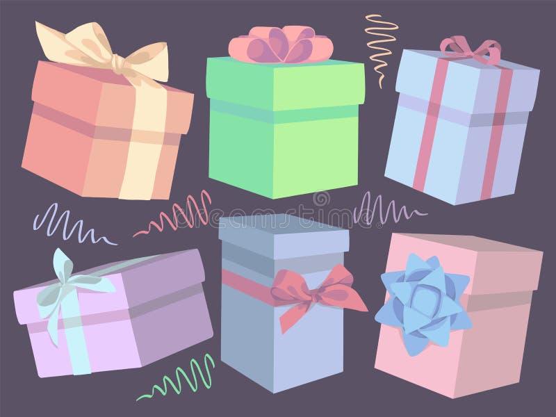 逗人喜爱的五颜六色的动画片传染媒介礼物盒例证的汇集 库存例证